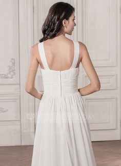 A-Line/Princess Scoop Neck Court Train Chiffon Wedding Dress With Ruffle (002059576)