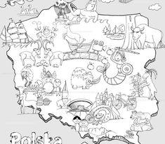 Mapa Polski do kolorowania Kolorowanka – Mapa Polski Kolorowanki: mapa Polski do pobrania i drukowania dla dzieci Duża konturowa mapa Polski... Kids And Parenting, Education, Geography, Poland, Activities, Historia, Stencils, Onderwijs, Learning