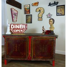 Reclaimed shop counter or office desk thats hand made from original old oak wooden fairground wood and original signage Ark and Speedway U. 1930s Furniture, Furniture Care, Upcycled Furniture, Furniture Making, Shop Counter, Sideboard Cabinet, Upcycled Vintage, Solid Oak, Shabby Chic