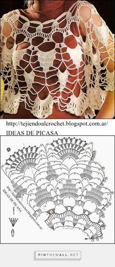 Openwork Crochet Poncho - Free Crochet Diagram - (tejiendoalcrochet.blogspot)