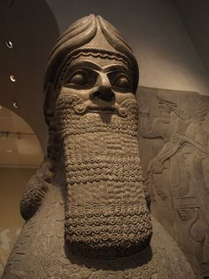 The Lamassu a human-headed winged bull figure from the palace of King Sargon II in his capital city of Dur-Sharrukin (Khorsabad) stands 16 ft tall and weighs 40 tons