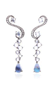 Music Notes Moonstones And Diamond Earrings by Anna Hu Haute Joaillerie for Preorder on Moda Operandi