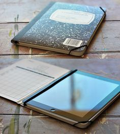 DIY iPad case--then duct tape the notebook with the colorful duct tape