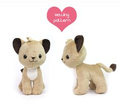 "20% OFF PDF sewing pattern - Lion Cub stuffed animal - chibi cat feline Pokemon standing plushie 10"" large kawaii collectible high quality"