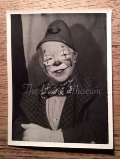 Original 1930s 1940s Vintage Clown Photograph Child Fancy Dress Bow tie Mime