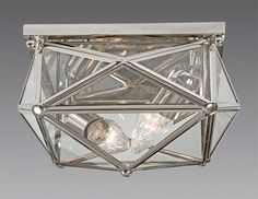 Brass and Glass square Star design two light ceiling mount lantern. Shown in custom polished nickel finish.