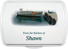 Personalized Cake Pan & Lid. Artist Series Design Boat-Dock Fishing! Love this brand new design!