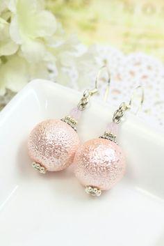 Peach Pearl Earrings Drops, Pearl Dangles, Peach Earrings, Pastel Earrings under 20, Peach Pearl Drops, Bridesmaids Gift, Bridal Earrings by TrinketHouse on Etsy