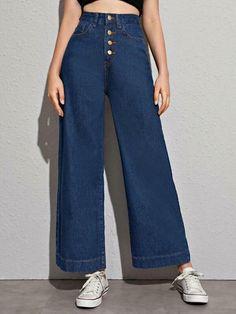 Baggy Jeans For Women, Dress Shirts For Women, Pants For Women, Romwe, Pantalon Large, Type Of Pants, Denim Fabric, Wide Leg Jeans, Alter
