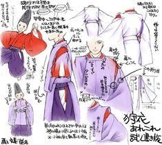 A man dressed in kariginu. Heian Era, Heian Period, Samurai, Manga Tutorial, Japanese Outfits, Drawing Clothes, Nihon, Colorful Drawings, Japanese Kimono
