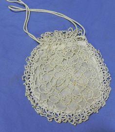 ebay SV-antique vintage Edwardian Victorian tatting tatted lace drawstring purse bag