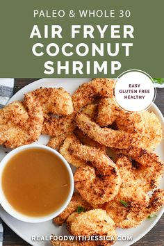 This Paleo Air Fryer Coconut Shrimp is quick easy and delicious! Golden brown crispy and a great dinner or appetizer. They're gluten free dairy free and dipped in a naturally sweetened sauce. Seafood Recipes, Paleo Recipes, Cooking Recipes, Free Recipes, Air Fryer Recipes Gluten Free, Seafood Dishes, Veggie Recipes, Yummy Recipes, Paleo Whole 30