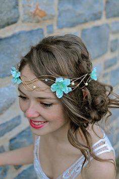 Wire crown gold woven Flower and Pearl Head piece by WirePrincess