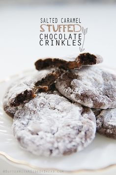 Salted Caramel Stuffed Chocolate Crinkle Cookies - Butter With a Side of Bread #recipe #cookies