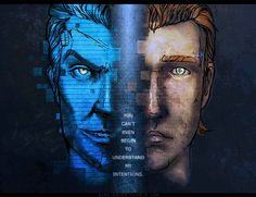 """glas-onion:  [Borderlands] intentions by glas-onion  I had this idea in my head to draw Rhys and Jack like Nicolas Cage and John Travolta from the """"FACE/OFF"""" movie poster.I really love that movie and the idea of switching identities and become evil/good/the other person.——————————————————————Handsome Jack & Rhys © Tales from the Borderlands // Telltale Games // 2k GamesMedium © ink pencils, photoshop"""