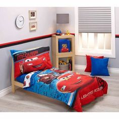 Disney Cars Team Lightening 4-Piece Toddler Bedding Set, Blue