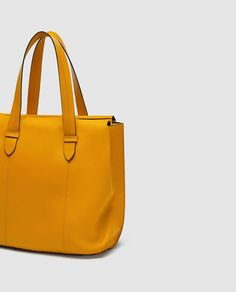 ZARA - MUJER - SHOPPER PIEL Zara Official Website, Zara Bags, Buy Now, Tote Bag, My Style, Leather, Trench, Mustard, Yellow