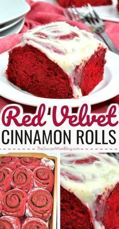 Do you need a delicious and decadent breakfast recipe? Try these amazing red velvet cinnamon rolls from the Soccer Mom Blog! Our absolutely amazing red velvet cinnamon rolls are surprisingly easy to make with this box cake shortcut! Try making this breakfast-dessert recipe this weekend! Easy Holiday Desserts, Easy Gluten Free Desserts, Köstliche Desserts, Delicious Desserts, Dessert Recipes, Holiday Recipes, Italian Desserts, Cupcake Recipes, Christmas Recipes