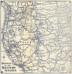 A 1938 Thomas Bros Map Of The Highways Of The Western United States Courtesy