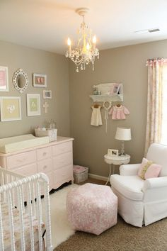 Baby Girl Room Ideas - Reorganizing a bedroom into a girl nursery needs more efforts. Parents should decide the best baby girl room ideas. Baby Bedroom, Nursery Room, Girls Bedroom, Nursery Decor, Baby Rooms, Chic Nursery, Kids Rooms, Vintage Nursery Girl, Taupe Nursery