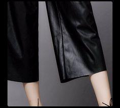 Aliexpress.com :  Heißer verkauf! schwarz pu leder hosen beiläufige breite beinhosen leder hosen pantalon femme pantalones mujer LT868 KOSTENLOSER VERSAND von verlässlichen pants leopard-Lieferanten auf moop genuine leather factory outlet kaufen