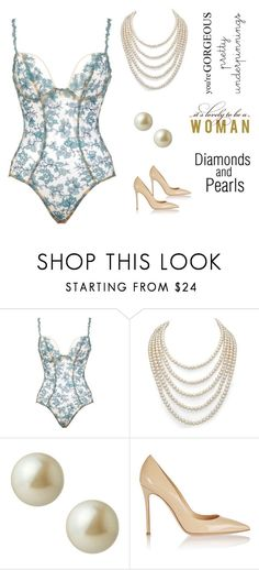 """""""Pretty Underpinnings and Pearls (contest)"""" by scolab ❤ liked on Polyvore featuring Va Bien, DaVonna, Carolee and Gianvito Rossi"""