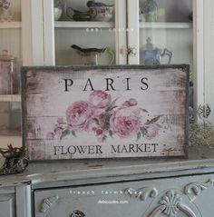 Paris Flower Market French Farmhouse Wood Framed Print by Debi Coules - Debi Coules Romantic Art