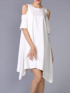 White Asymmetrical Cold Shoulder Midi Dress