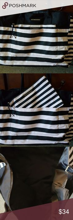 Victoria secret weekender tote bag black and pink No rips or tears Used once  Ask any questions Bags Travel Bags