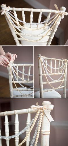 Vintage Pearls Wedding Chair Decor Ideas / http://www.deerpearlflowers.com/vintage-pearl-wedding-ideas/2/