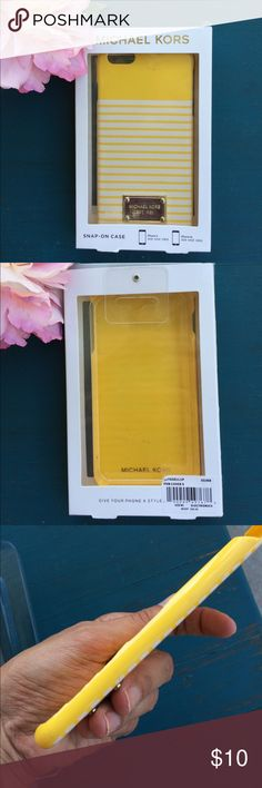 Super cute Michael Kors phone case! This adorable yellow and white striped Michael Kors case is so fun! Fits size 6 or 6S iPhone. Comes in original box! The phone case has some chipping on one side as shown in pictures and a few small scuff marks in front. Other than that in great shape and is still fully functional! Enjoy! Michael Kors Accessories Phone Cases