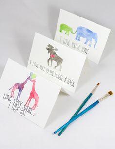 DIY Watercolor Animal Cards
