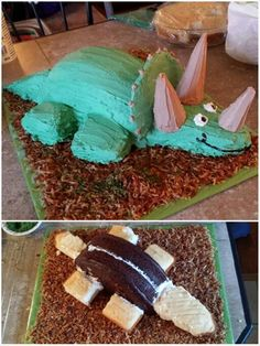 Homemade triceratops birthday cake