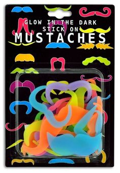 Neon Glow-in-the-Dark Mustaches - So much fun for kids to wear for birthday parties, summer camp or just to be silly! Only $3.00/set.