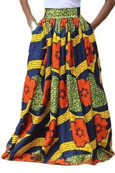 eaac50d826 Women's African Print High Waist A-Line Pleated Maxi Skirt