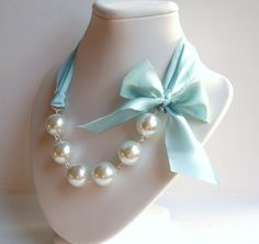 The Original Carrie Necklace in Robins Egg Blue A romantic ribbon and pearl necklace, something blue bridal necklace. erinkeys , via Etsy.