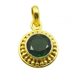 Riyo Smiling Emerald Cz 18kt Gold Plated Copper Green Pendant Gppemcz-96040