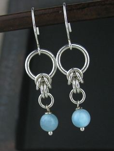 Blue Larimar Chainmaille Earrings, Blue Gemstone Earrings, Larimar Jewelry, Blue Stone Chain Jewelry, Larimar Chainmail Jewelry by LoneRockJewelry on Etsy Silver Drop Earrings, Diy Earrings, Gemstone Earrings, Earrings Handmade, Handmade Wire, Handmade Jewelry, Silver Ring, Silver Bracelets, Jewelry Bracelets
