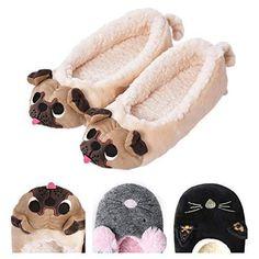 Women s Plush Winter Warm Animal Soft Cute Home Slippers Dog 7-8 BM US   85824654284e