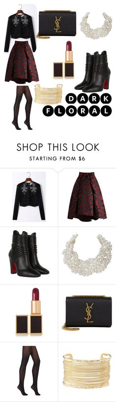 """""""Dark Floral"""" by ravenskullz ❤ liked on Polyvore featuring Chicwish, Christian Louboutin, Humble Chic, Tom Ford, Yves Saint Laurent, Wolford and Charlotte Russe"""