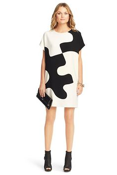Kelsey Puzzle Tunic Dress In Black/ White/ New Pearl