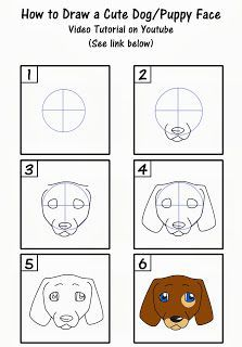 This tutorial on how to draw a cute puppy face is fun and easy for beginners or kids! Here's the video tutorial: http://youtu.be/4fuIXTGsILI #art #drawing #dog