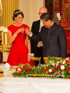 Kate Middleton Looks Regal in Red For Her First State Dinner
