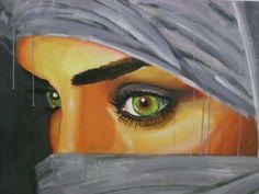 Gesluierd Salon Art, Hidden Face, Show Beauty, Portraits, Acrylic Canvas, Female Images, Female Portrait, Love Art, Mixed Media Art