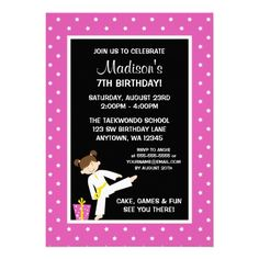 Taekwondo Karate Pink Stars Girl Birthday Announcements