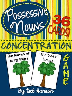FREE Possessive Nouns Concentration Game (singular and plural)