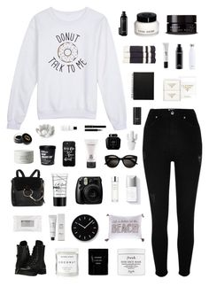 """🎶 my whole world is black and white"" by countless-possibilities ❤ liked on Polyvore featuring River Island, Levtex, Capezio, Chloé, S'well, Prada, Lemnos, Casetify, James Perse and Fujifilm"