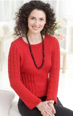Red Heart® Shimmer Cable Sweater - free pattern