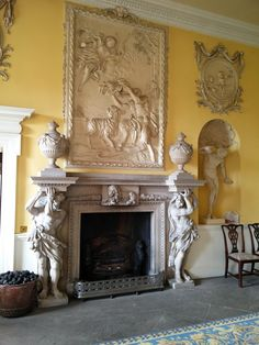 The DiCamillo Companion - Hagley Hall, Worcestershire. Fireplace Surrounds, Fireplace Design, Fireplace Mantles, Baroque Decor, Marble Fireplaces, Luxury Home Decor, Home Office Decor, Ceiling Design, Home Decor Styles