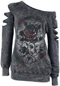 """- U-Boot-Ausschnitt - Aufdruck vorne - lang geschnitten - Batik  Extravaganz und Stilsicherheit – dafür steht der Girl-Pullover """"Roses nest"""" von Alchemy England. Auf dem schwarz-grau melierten Grund ist eine schwarze Rose mit Rosa-Highlights aufgedruckt. Stimmig zu dem leicht düsteren Stil sind an beiden Ärmeln je drei Schlitze angebracht, die Inside-Outside-Nähte tun ihr übriges – hier kommt deine wilde Seite raus."""